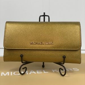 NWT Michael Kors Trifold Wallet Old Gold